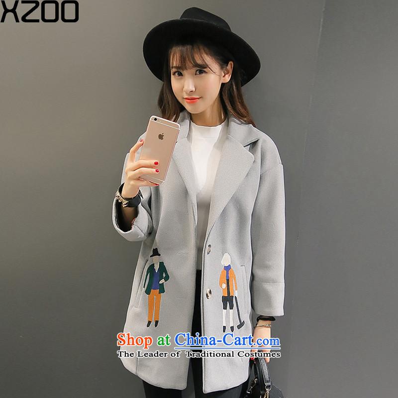 Gross coats women XZOO2015? In Korea long jacket_? The children of winter clothing�18-4 gray燲L