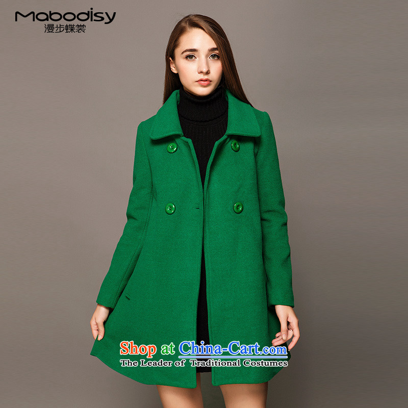 Stroll through the Advisory Committee of the sphenoid 2015 winter clothing new long-sleeved wool coat is double-dragon card in temperament, long hair? jacket female green M