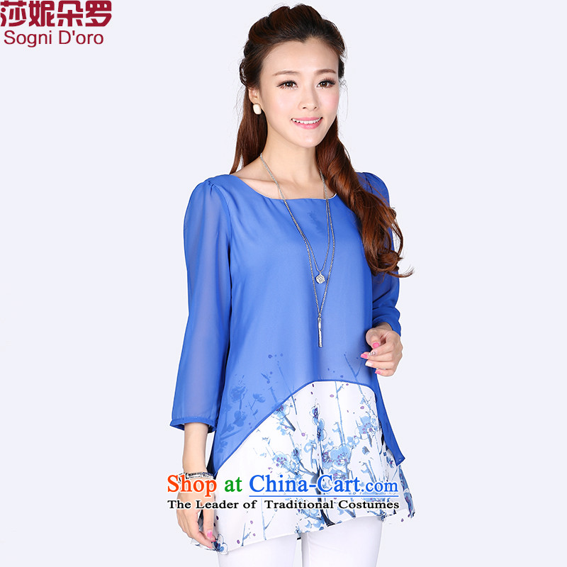 Luo Shani flower code women thick mm Summer 2014 leave the new two-piece chiffon stitching stamp shirt 7,735 3XL Suit