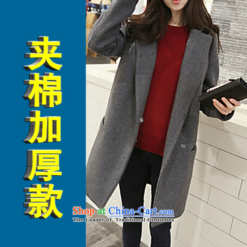 Czstylebychez2015 autumn and winter new Korean version of large numbers of ladies' a large thick hair jacket coat women 6863? Gray Cotton - Clamp thick S