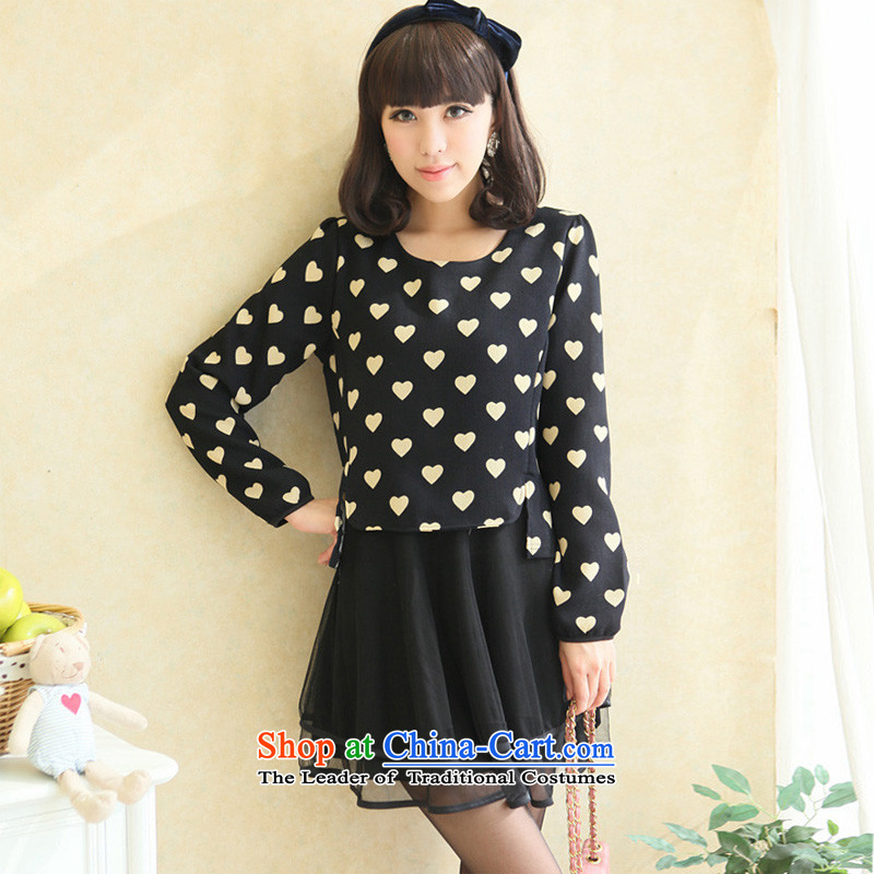 Large 2015 autumn and winter shirts thick girls' Graphics thin leave two Love Letter mm dresses Korean thick sister navy poverty black3XL_ recommended weight 170-190_