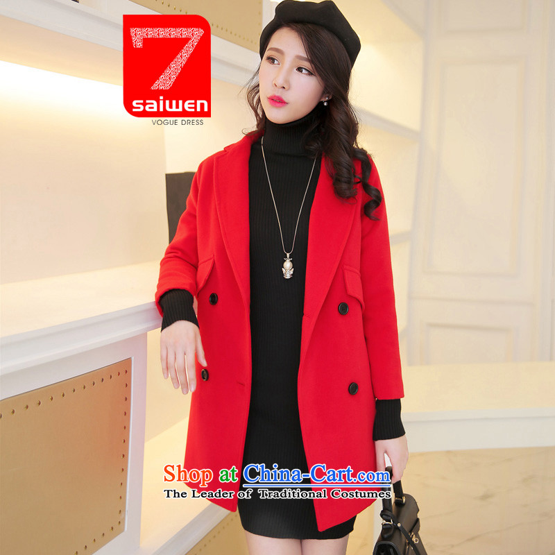The 2015 season Tsat autumn and winter new European site fine wool coat is thick need pocket Korean red overcoat quality? L