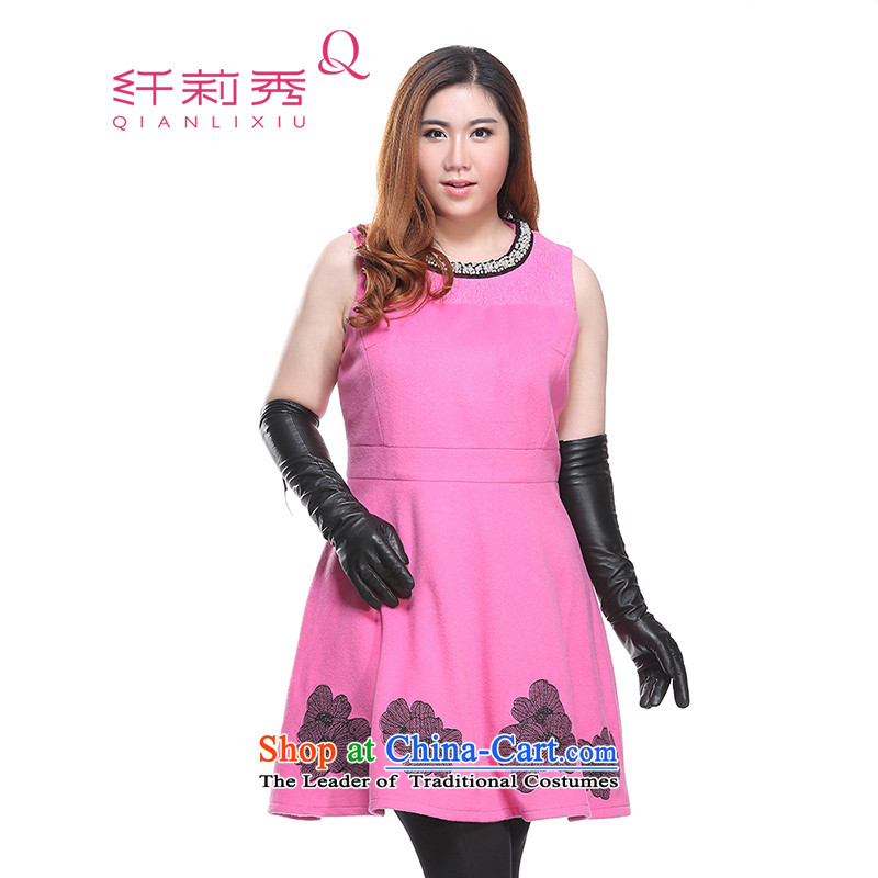 The former Yugoslavia Li Sau-winter new larger female western stitching Lace Embroidery video in thin long Sau San, elegance sleeveless wool a skirt Q6585?3XL Pink