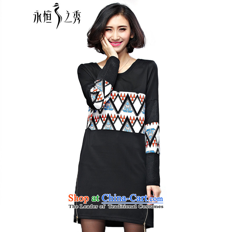 The Eternal-soo to xl women's dresses thick sister 2015 Autumn replacing new products bags fat mm thick and stamp out of poverty in the long graphics thin long-sleeved T-shirt black4XL