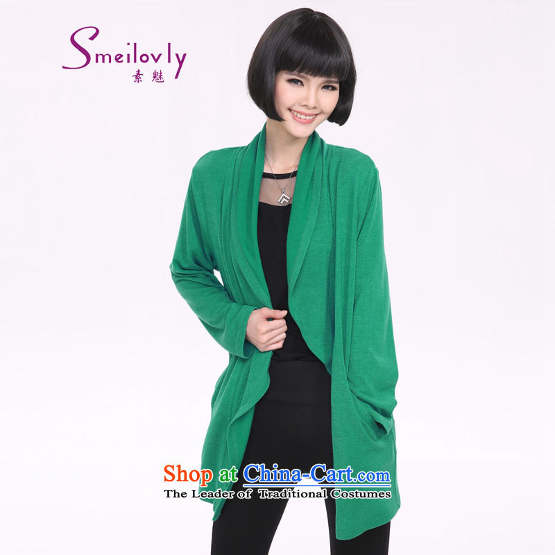 So clearly to xl female thick mm spring 2015 new Korean version of long-sleeved jacket knitting cardigan loose 5206 large green code XL