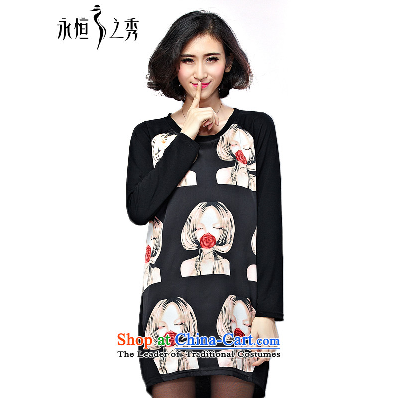 The Eternal Soo Choo loaded thick mm 2015 new large long-sleeved T-shirts in long loose stamp dresses black4XL