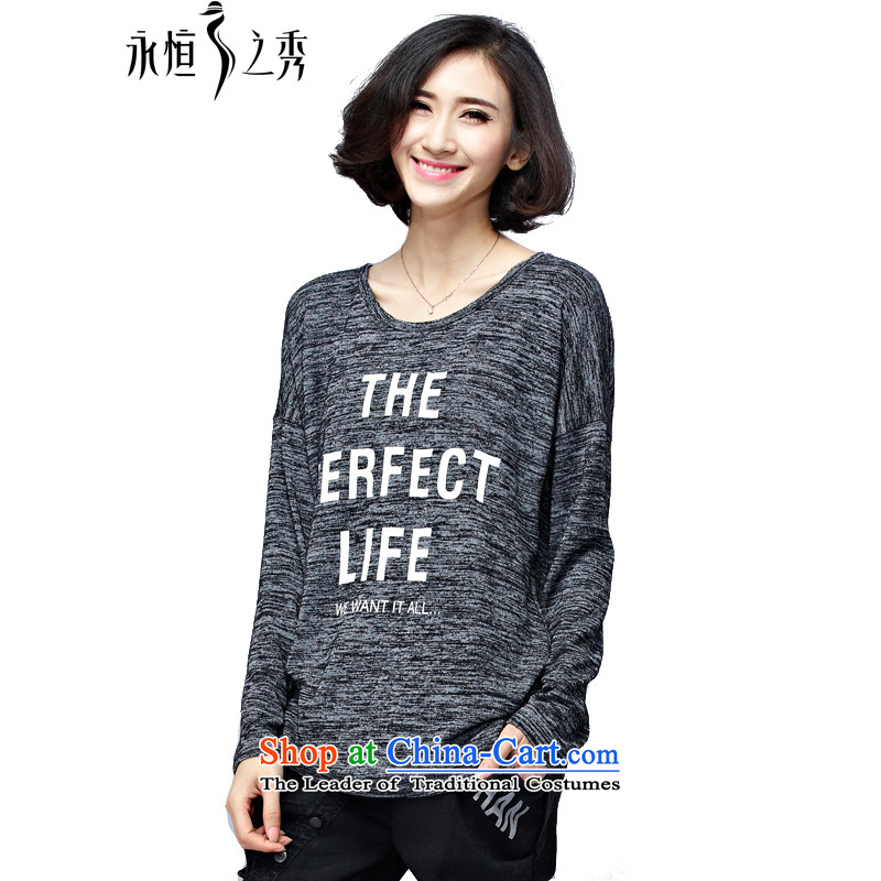The Eternal Yuexiu Code women 2015 Autumn load thick sister new Korean version of video thin, thick clothes to wear the increase code 200 jin long-sleeved T-shirt shirt flower�L Gray