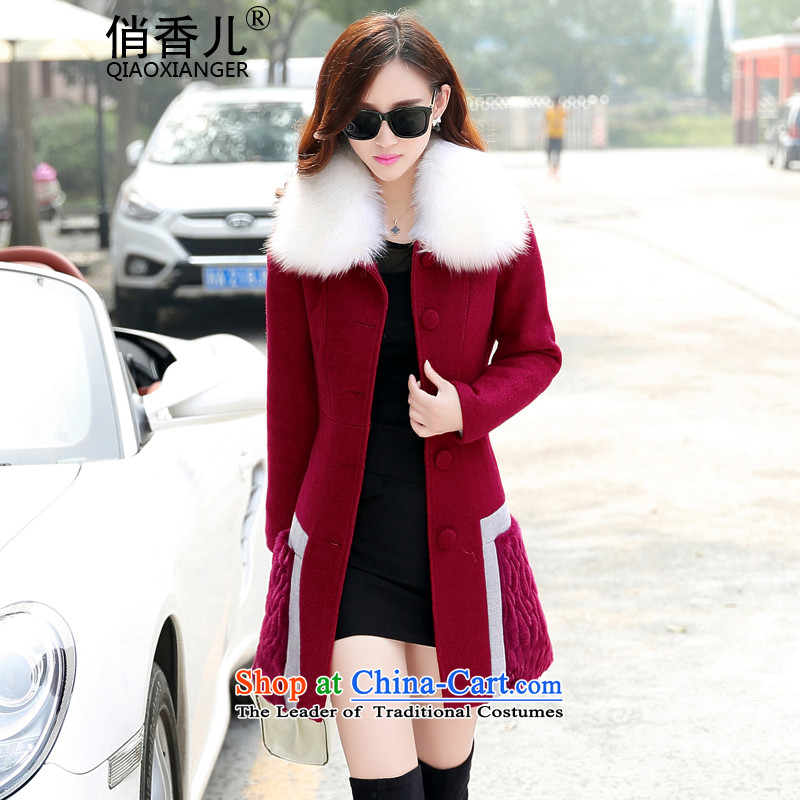 For autumn and winter 2015-heung-new Korean single row detained woman Sau San fall winter coats female jacket gross?   in the long graphics thin suits_? windbreaker female wine red M