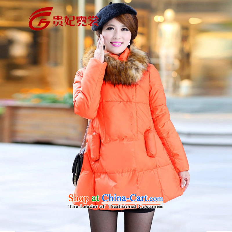 Gwi Tysan thick mm extra female Dressed Dolls, down 200 catties of winter clothing to increase the timeout loose thick sister video thin Cloak Feather Clothing A567 orange 4XL recommendations 150-165¨catty