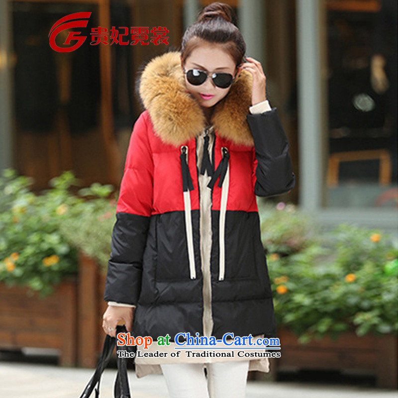 Gwi Tysan 2015 winter clothing extra female Korean version of fat mm to increase down 200 catties thick sister in thick long military load Y58 red and black stitching5XLrecommendations 210-230 catty