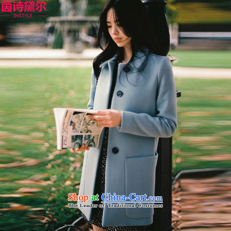 Athena Chu poetry, hair? a women's coats jackets for winter 2015 Autumn_ New material for larger_? In long wool cashmere overcoat women Sau San Korean general燤 Blue 428