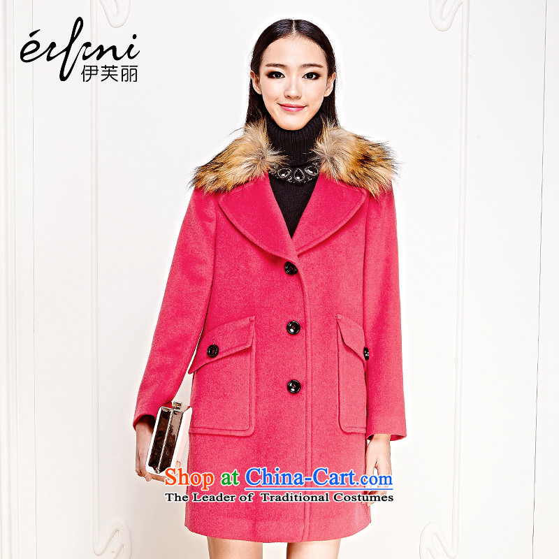 Of the 2015 winter clothing new Lai for women single row detained in woolen coat long hair? jacket 6481127916 redS