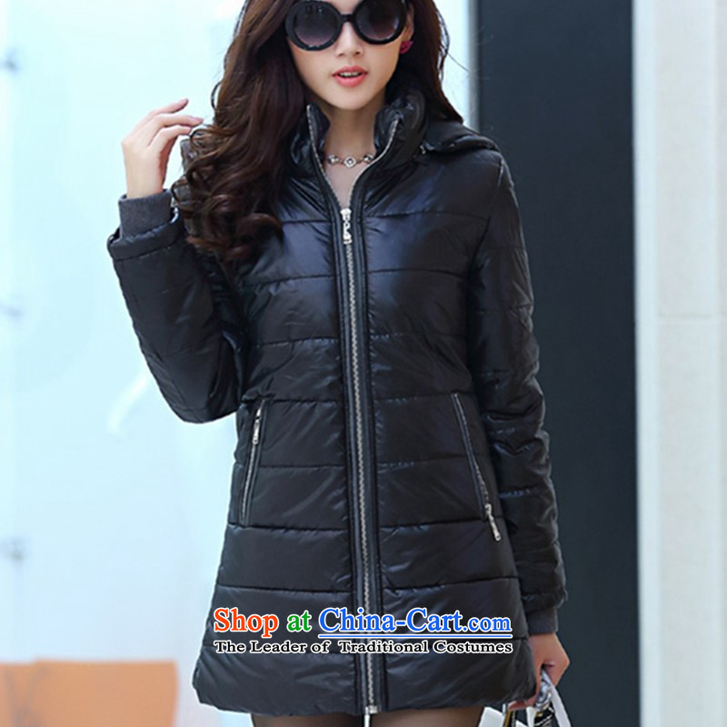 To increase the number of women with thick coat thick mm2015 Fall_Winter Collections Korean video thin large Sau San 泾蜮 cotton coat 200 catties thick cotton thin woman graphics mm black燣