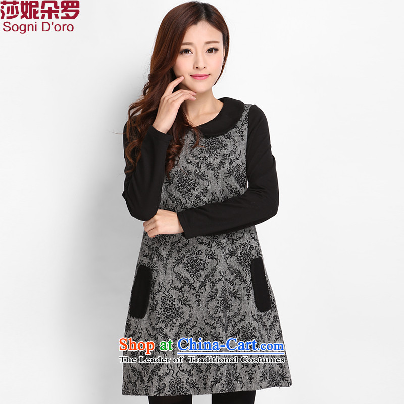 Luo Shani Flower Code women's gross? dresses to intensify the thick mm thick winter clothing, Han Version_ 8002 gray skirt thin�L sum female video Thin_