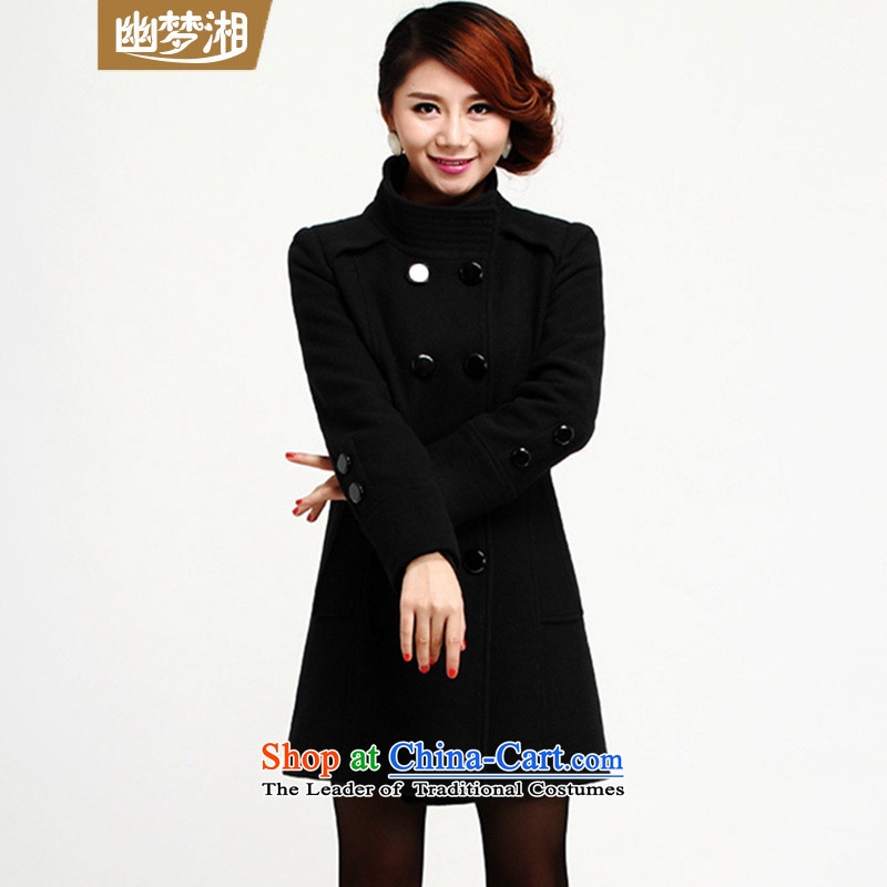 Meng Xiang ymx2015 new girl? female jacket coat for winter female windbreaker gross a wool coat 088 Black?M