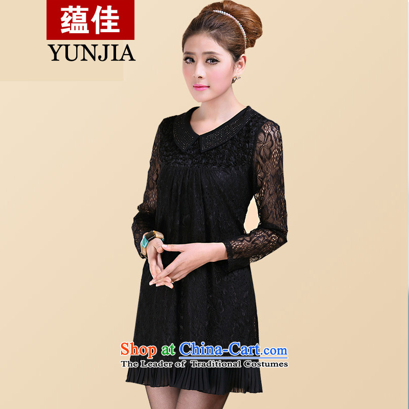 To better 2015 spring outfits lapel ironing drill lace long-sleeved relaxd A VIDEO TO XL thin female Korean billowy flounces, long lace forming the Netherlands black 5XL