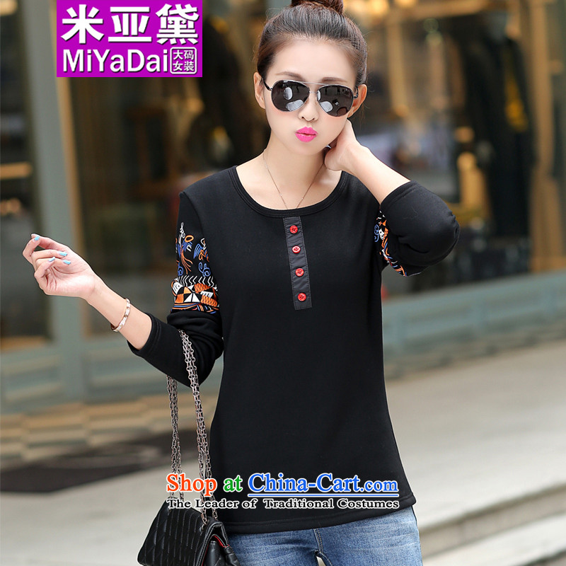 The maximum number of ladies Diana plus lint-free thick long-sleeved T-shirt ethnic�14 autumn and winter new thick sister winter clothing to 200 catties, forming the Netherlands爌roposal 180-200 catty 5XL_ black_