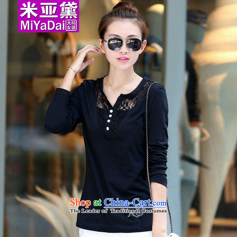 The Doi larger women during the spring and autumn 2015 new thick sister long-sleeved T-Shirt ironing butterfly thin graphics pure cotton drill larger forming the Netherlands Battalion 200 catties black3XL( fertilizer recommendations 140-160 characters ca