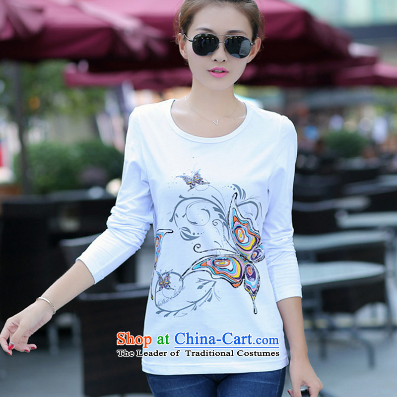 The Doi larger women during the spring and autumn�15 new thick sister long-sleeved T-shirt video thin cotton larger forming the Netherlands to 200 catties�L_ white recommendations 160-180 catties_