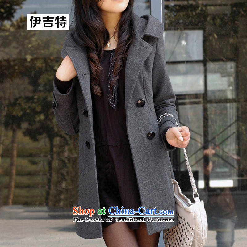 Baiji AD 2015 autumn and winter new larger female Korean double-coats female jacket gross? In the long dark gray燲L