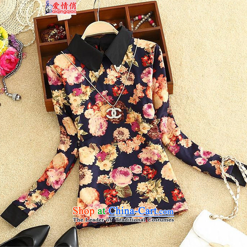 Love is to increase the number of women with the burden of thick mm long-sleeved shirt, forming the basis for winter thick sister plus lint-free T-shirt f5608 thick daisy-XL