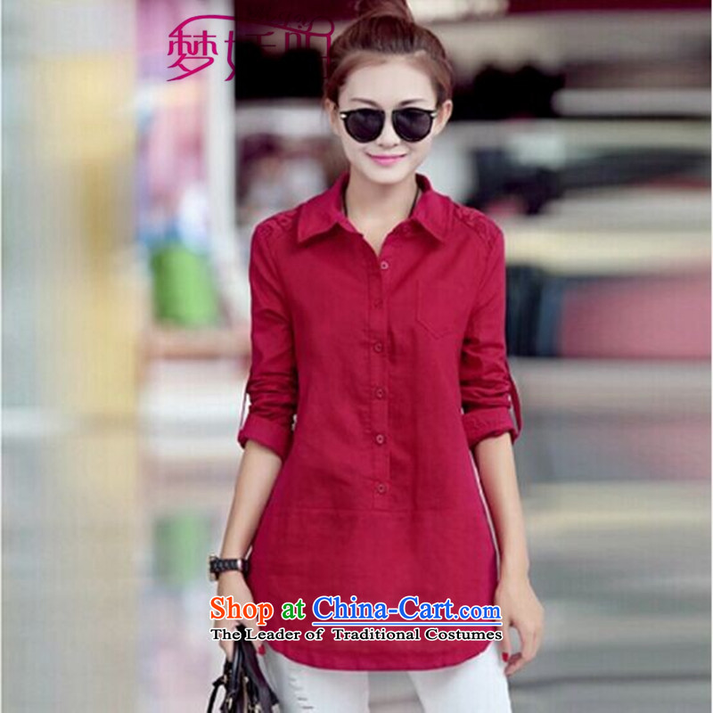 During the spring and autumn long-sleeved shirt female loose Korean head kit shirt female spring and autumn cotton linen tunic shirt wine red XXL