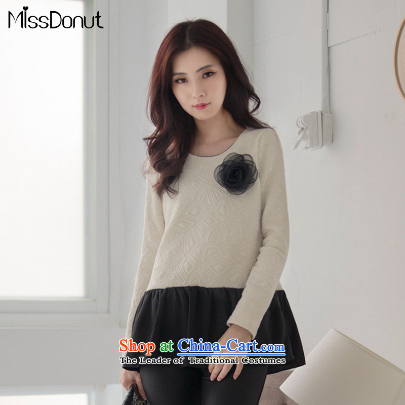 Load New missdonut2015 Choo Won version to increase women's code thick mm leave in two long long-sleeved T-shirt chiffon shirt m large white code XL