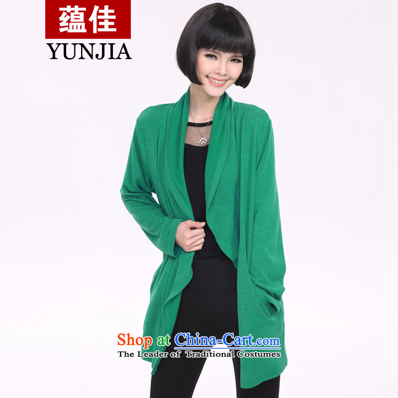 To better spring 2015 new larger lady knitted shirts sweater in shawls female long-sleeved shirt, long air-conditioning outside ultra-thin ground green4XL