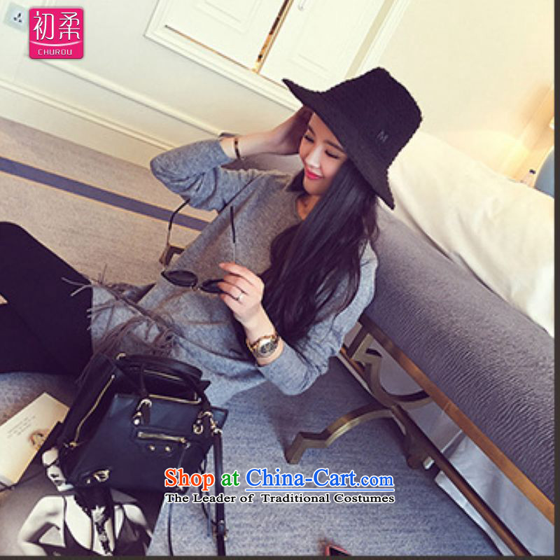 The earlyspring and autumn 2015, large flexible code women Western Wind Solid Color sweater stitching flow under modern street, Su Fan sweater 200 catties can be wearing a dark gray are code