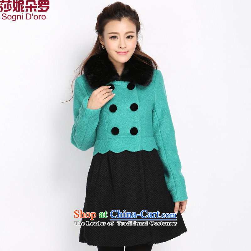 Luo Shani Flower Code women's gross coats female expertise? mm thick winter clothing video thin dresses, to increase the number of women at 1330 hours a jacket?5XL Green video thin coat