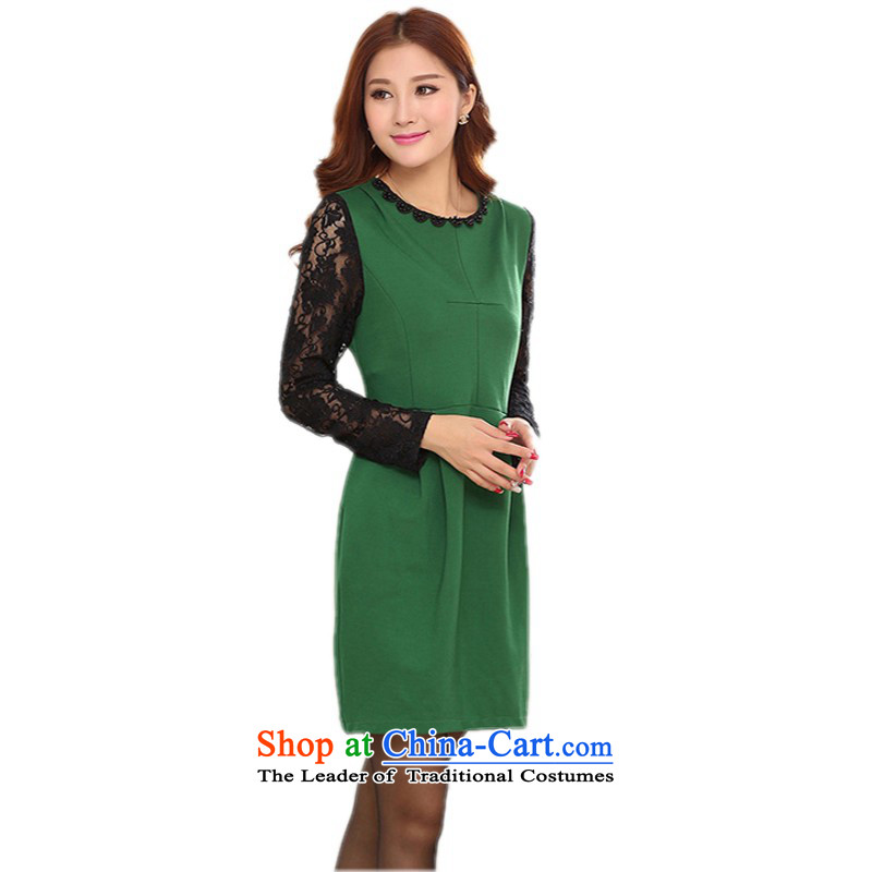 C.o.d. Package Mail Spring 2015 new elegant ladies wind OL Career Dress green large ELASTIC LACE nails, forming the Pearl River Delta round-neck collar long-sleeved greenMapproximately 100-120 skirt catty