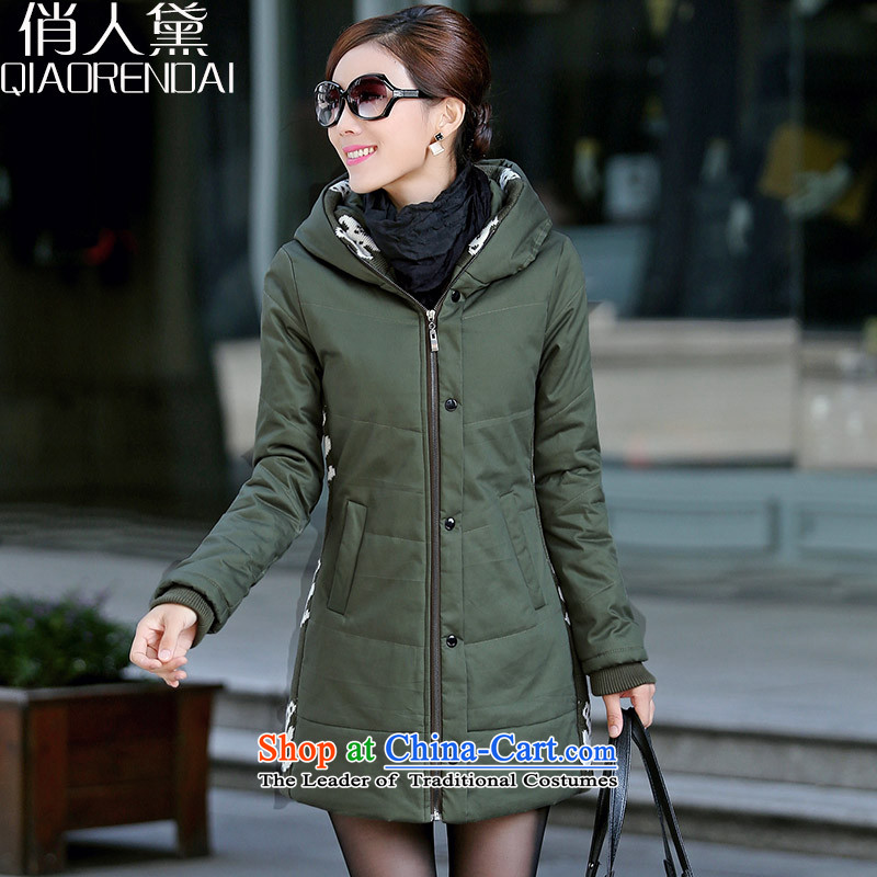 For the people by 2015 Winter New Doi jacket to xl women in cotton long thick cotton waffle service Korea sister version warm robe female army green jacket�L_ recommendations 145-160 catties_