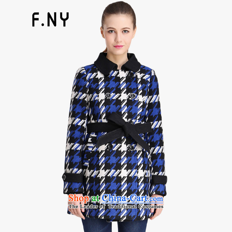 F.ny counters genuine winter 2014 chidori grid blue, long hair? jacket, blue聽165_84A_38_M 1441777