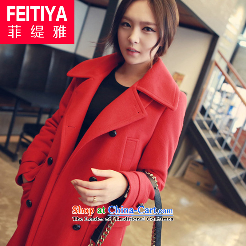 The Philippine economy ya�15 autumn and winter new gross female Korean jacket is thick coat girl in long chinese red燤