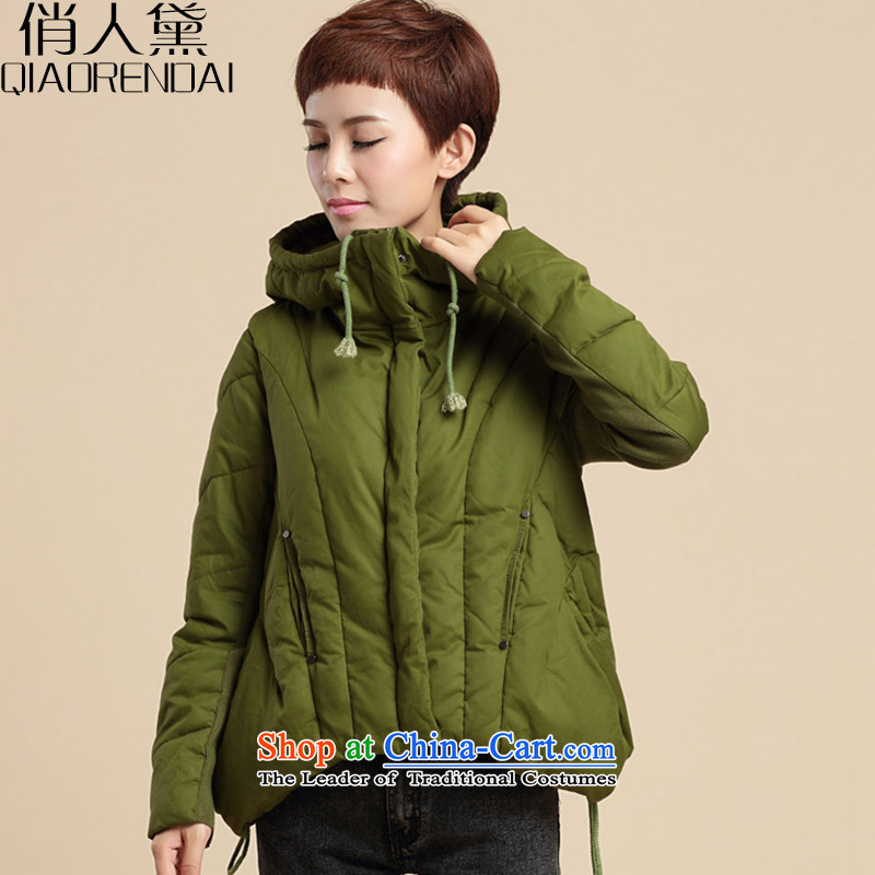 For people to increase the number of Diane Women 2015, cotton short female Korean version of a loose video thin thick cotton coat middle-aged leisure mm video thin robe army green L