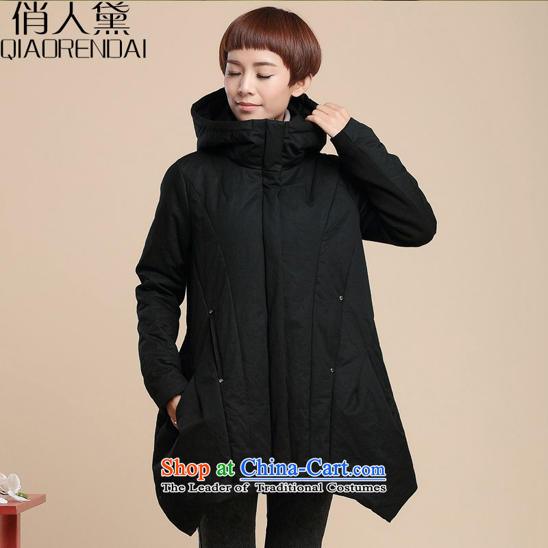 For people to increase code Diana lady's robe thick winter 2015 mm thick cotton new female Type A loose video thin cotton coat leisure jacket, black聽4XL_ recommendations 160-185 catties_