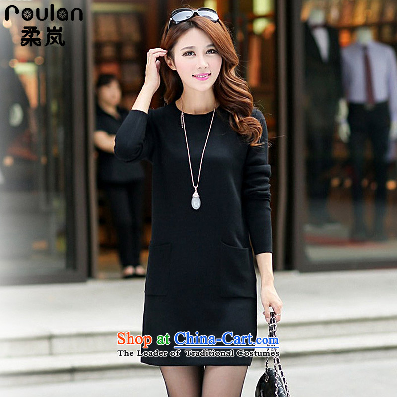 Sophie included 200 catties thick MM plus hypertrophy code 2015 autumn and winter female Korean version of the new long knitting firm long-sleeved dresses light sweater female black XXXL 4001