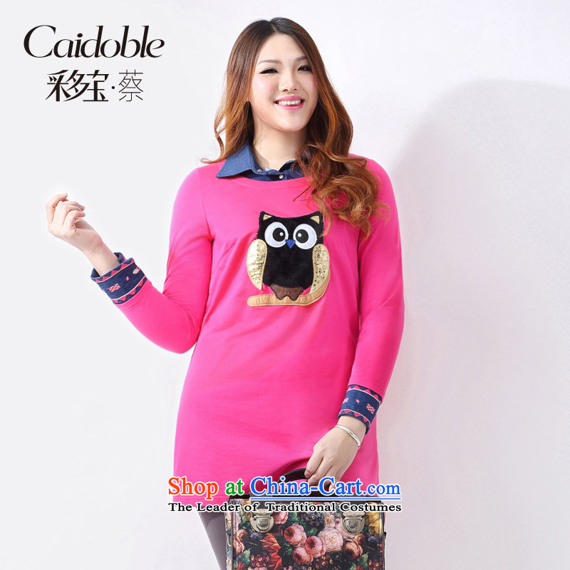 2015 Chun Po Building Code, more women thick MM stylish graphics two fake embroidered thin, long sweater A3371 better redXL