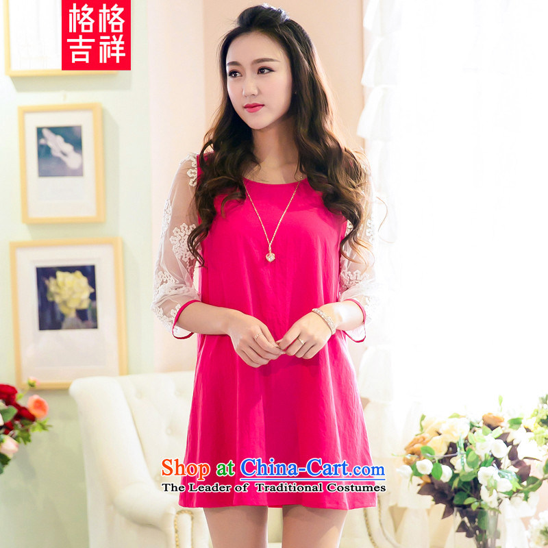 The interpolator auspicious?New) Autumn 2015 to increase the number of women with thick MM loose video thin engraving cuff gauze stitching chiffon dresses V5006 better Red?4XL