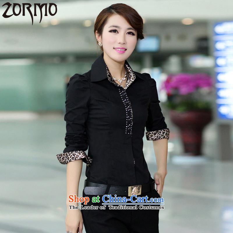 聽Large ZORMO women fall inside leopard stitching to xl long-sleeved shirt female thick mm king attire, forming the shirt black聽4XL 155-175 catty