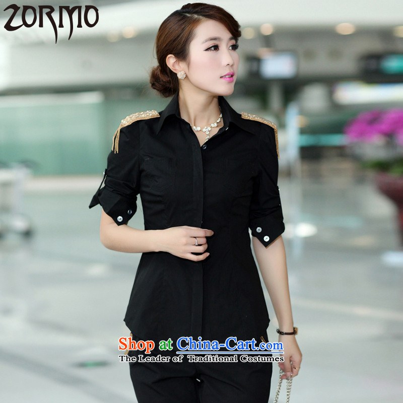 Large ZORMO women during the spring and autumn long-sleeved shirt xl to thick mmol attire king shoulder shirt BlackXL 110-125 catty