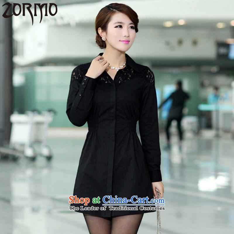 燣arge ZORMO female lace stitching to xl shirt elastic waist cotton autumn and winter long sleeved shirt black�L 155-170 catty