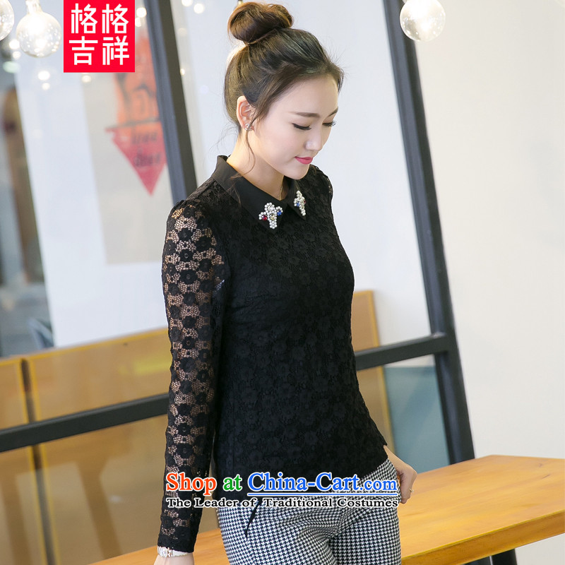 The interpolator auspicious2015 XL women fall new Korean people thick Sau San video thin OL temperament female lace long-sleeved T-shirt, forming the Netherlands V50264XL(180-200 catty wearing black)