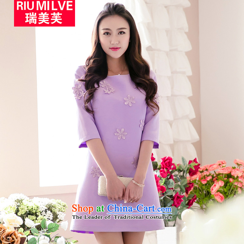 Rui Mei to to increase women's code 2015 Spring/Summer New elegant ladies decals graphics thin fifth Sau San cuff dresses V5001 L(110 Purple - 130 catties wearing) Jin