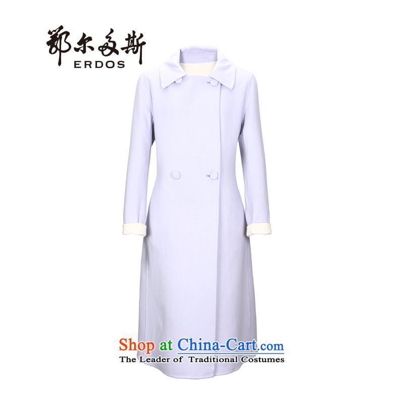 Erdos winter new products purple duplex cashmere overcoats long hair? female pale blue jacket + White165_88A