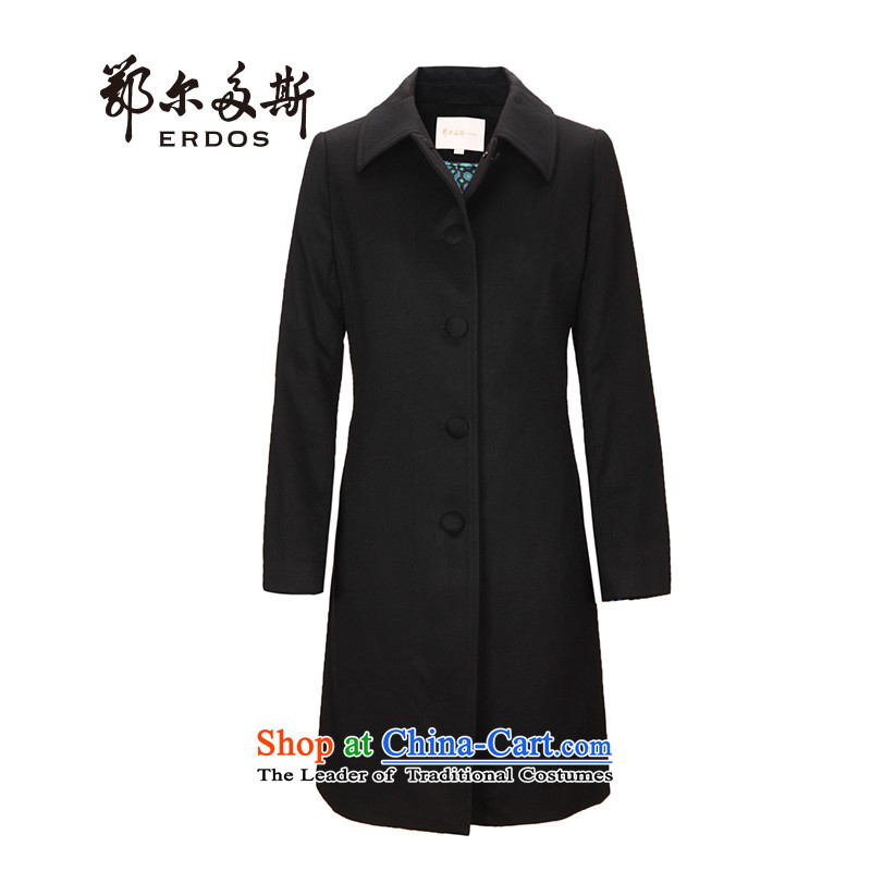 Erdos cashmere overcoat and stylish girl cashmere designer聽|8470792 collar shape聽聽160_84A black