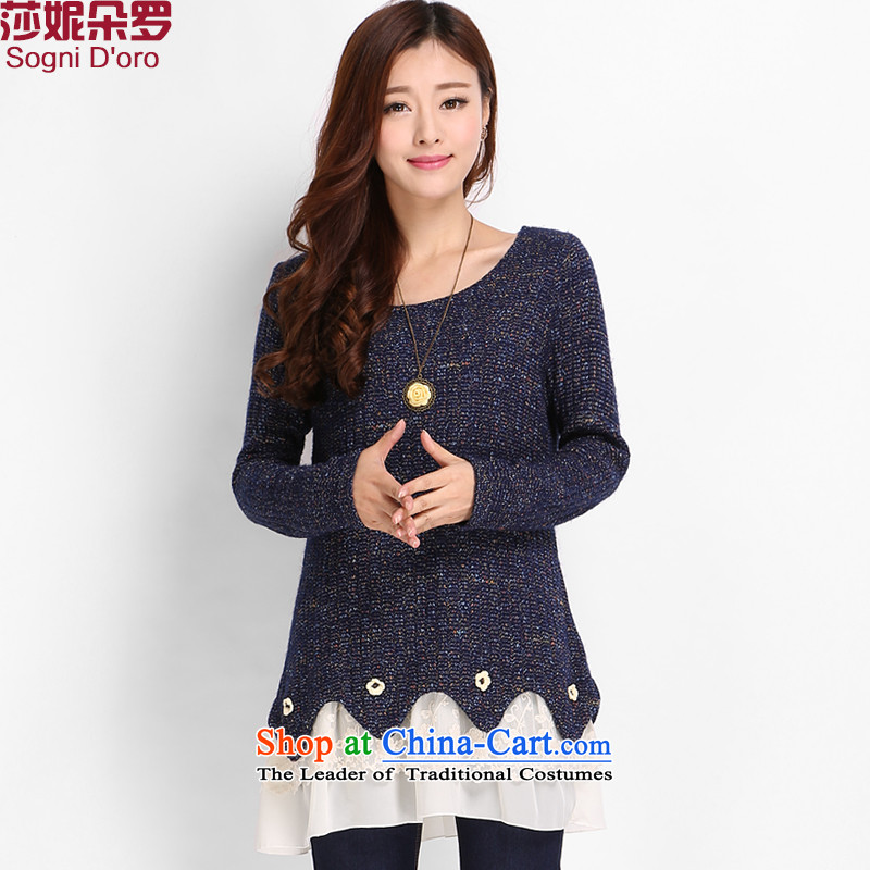 Luo Shani flower code women winter clothing to increase the burden of code 200 thick sister Korean people video thin, Fat Fat mm dresses 8813 sapphire blue 6XL spring sweater new