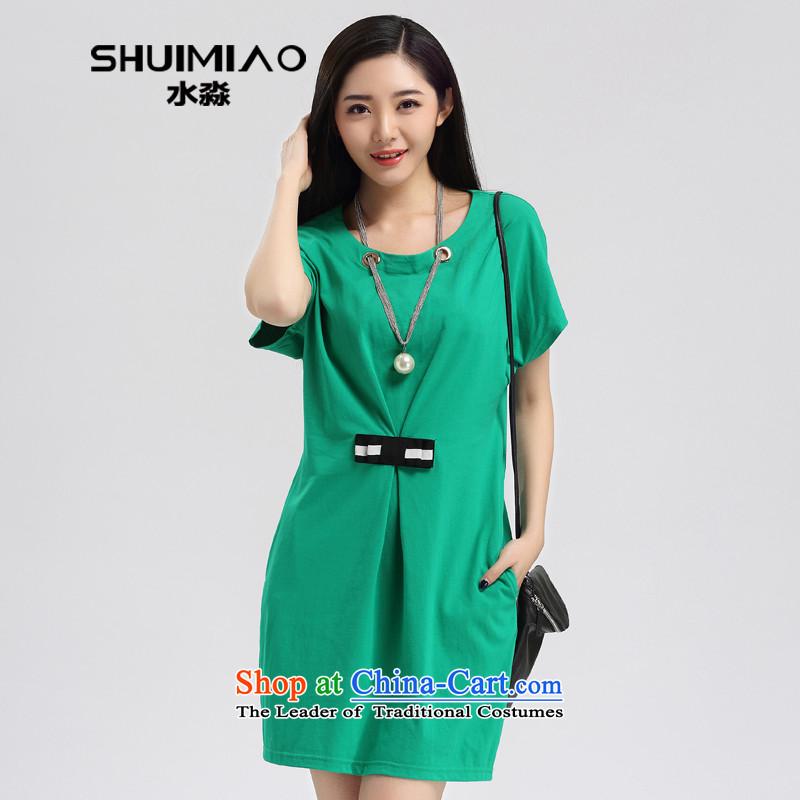 The representative of the water code version of large Korean women 2015 Spring/Summer New Sau San temperament. long skirt S15CY48793XL emerald-green