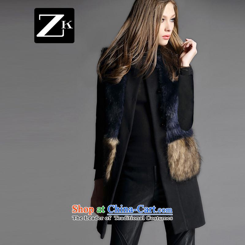 Zk Western women2015 Fall/Winter Collections new emulation fur coats, wool? long hair a fur coat blackM?