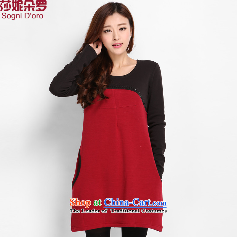 Luo Shani flower code T-shirts to xl thick 200 catties thick Korean version of SISTER spring blouses female red 3XL 8016